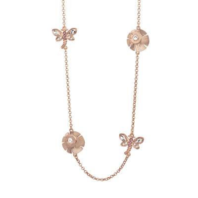 Long necklace with dragonflies and flowers decorated by Swarovski