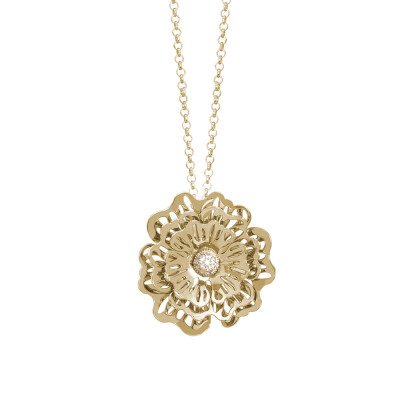 Golden necklace with three-dimensional wild rose pendant and cubic zirconia