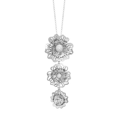 Necklace with a tie-tie pendant composed of three-dimensional wild roses