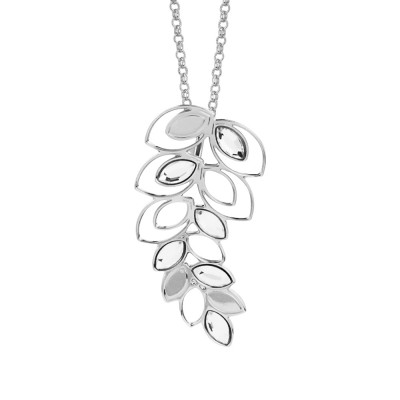 Rhodium-plated necklace with a spike pendant of wheat and Swarovski