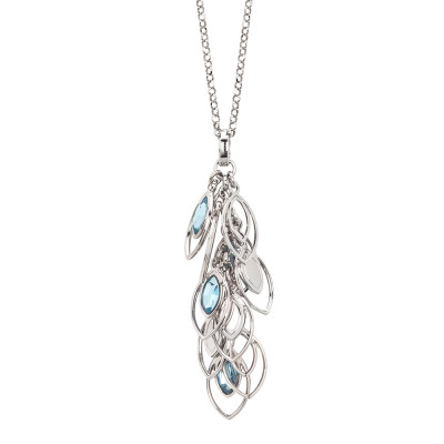 Necklace with a sprig of wheat grains and Swarovski aquamarine