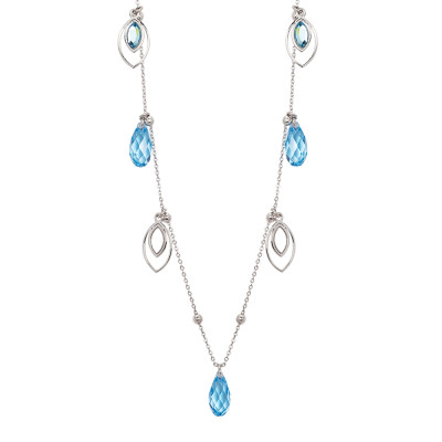 Long necklace with charms and aquamarine Swarovski