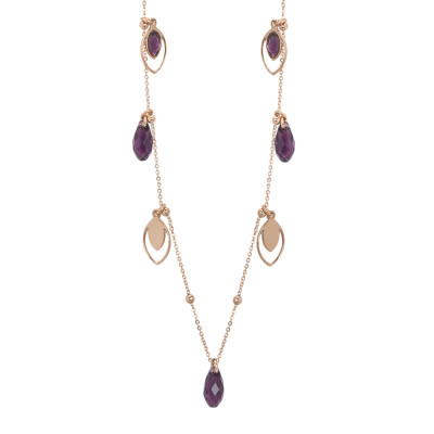 Long necklace with charms and Swarovski amethyst