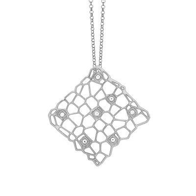 Long rhodium-plated necklace with a network and Swarovski texture pendant