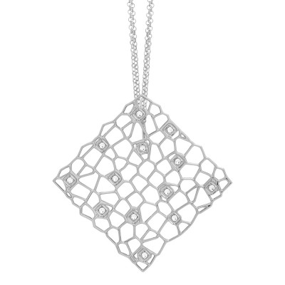 Rhodium-plated double strand necklace with a network and Swarovski texture pendant