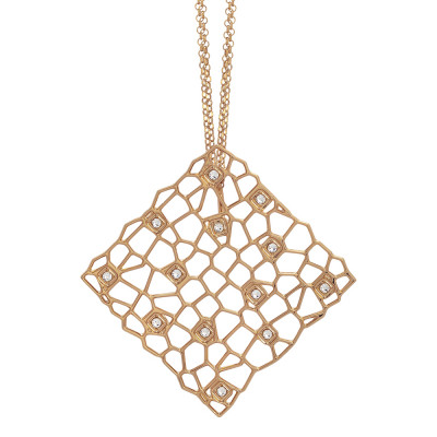 Rosé double strand necklace with mesh and Swarovski texture pendant