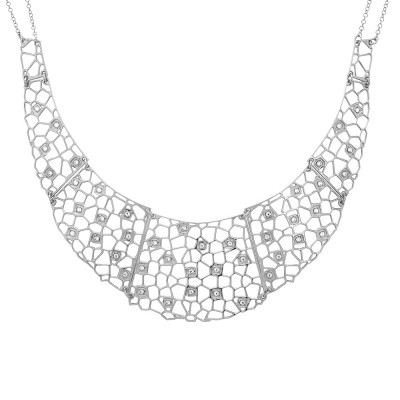 Semi-rigid rhodium-plated necklace with mesh and Swarovski weave
