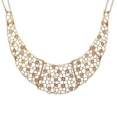 Semi-rigid rosy necklace with mesh and Swarovski weave