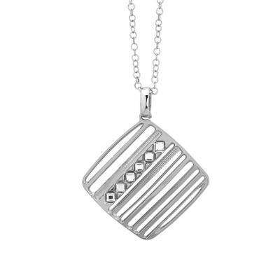 Rhodium-plated necklace with Swarovski diamond-shaped pendant