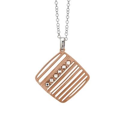 Rosé necklace with pendant decorated with Swarovski rhombuses