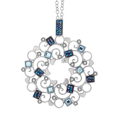 Collana rodiata con pendente decorato di Swarovski