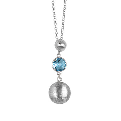 Necklace with hanging scratched elements and sky crystal