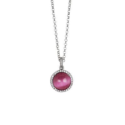 Long necklace with flecked fuchsia cabochon and zircons