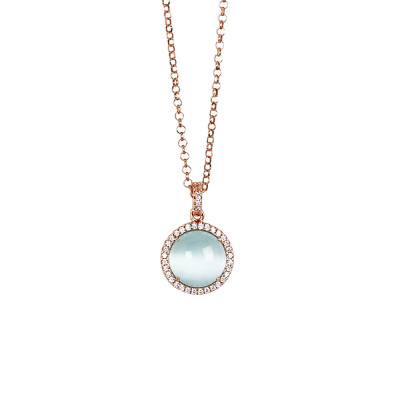 Long necklace with light blue flecked cabochon and cubic zirconia