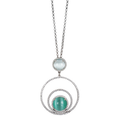 Long necklace with concentric circles of cubic zirconia and sky-blue cabochon