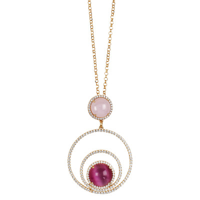 Long necklace with concentric circles of cubic zirconia and cabochon light pink and fuchsia fuchsia
