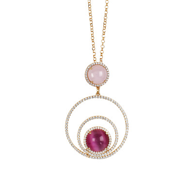 Necklace with concentric circles of cubic zirconia and cabochon light pink and fuchsia fuchsia