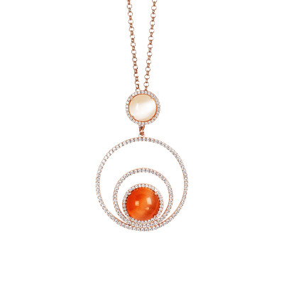 Necklace with concentric circles of zircons and beige and orange cabochon