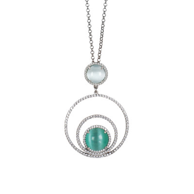 Necklace with concentric circles of cubic zirconia and sky-blue cabochon