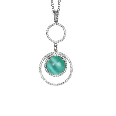 Necklace with cubic zirconia pendant and aqua green cabochon