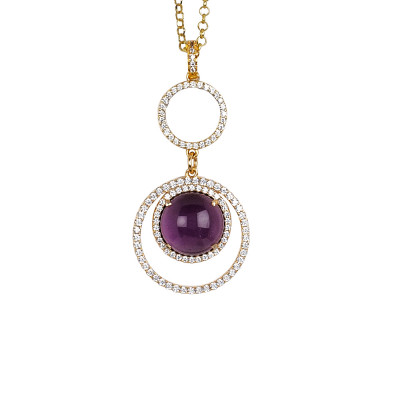 Necklace with cubic zirconia pendant and flecky amethyst cabochon