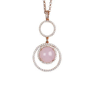 Necklace with cubic zirconia pendant and light pink cabochon