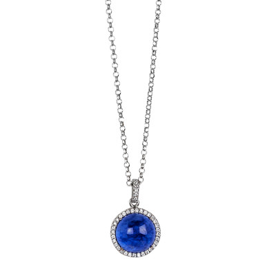 Long necklace with rutilated blue cabochon hanging on a zirconia base
