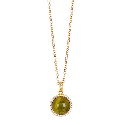 Long necklace with pendent olivine green cabochon pendant on zircon base