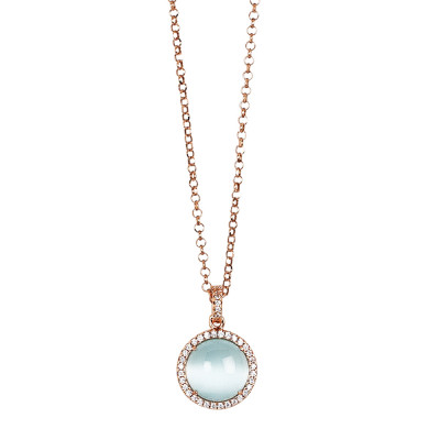 Long necklace with pendent sky blue cabochon on a zircon base