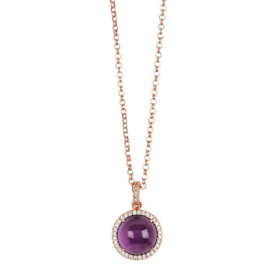 Long necklace with flecked amethyst cabochon pendant on zirconia base