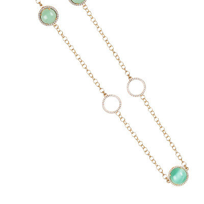 Necklace with water green cabochon, flecked and opaque with zircon elements