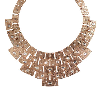 Necklace with Egyptian Swarovski pink bib