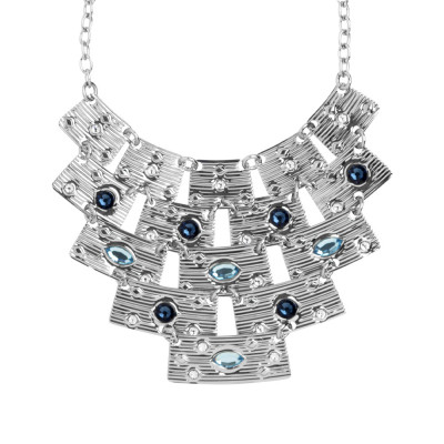 Necklace with semi-rigid central and blue Swarovski