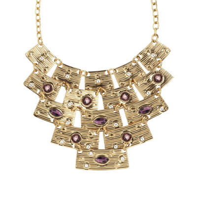 Necklace with semi-rigid central and pink Swarovski