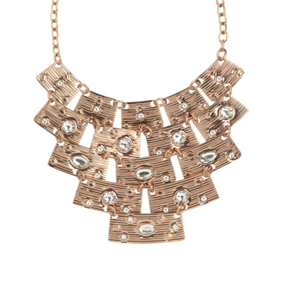 Necklace with semi-rigid central and Swarovski crystal