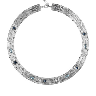 Semi-rigid necklace with blue Swarovski