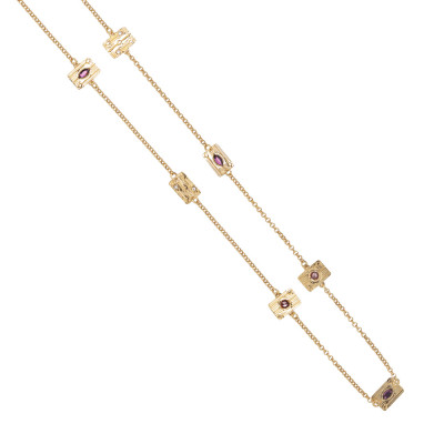 Long necklace with modular elements and pink Swarovski