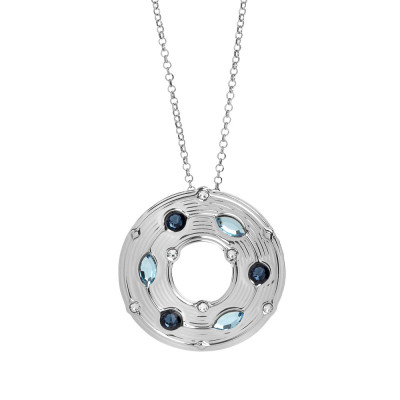 Necklace with circular pendant and blue Swarovski