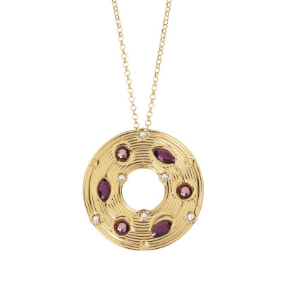Necklace with circular pendant and pink Swarovski