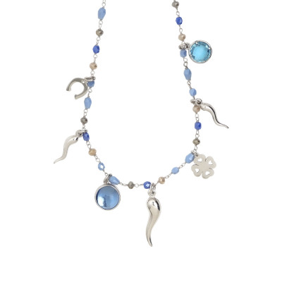 Rosary necklace with multicolor blue shades and luck charms