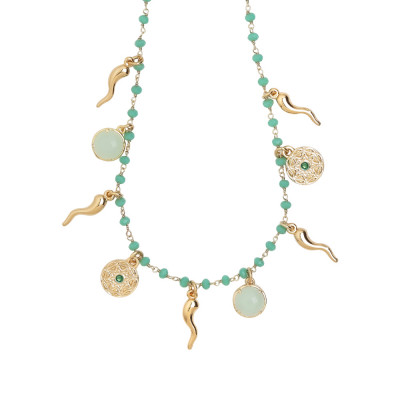 Rosary necklace with teal-green crystals and charms good luck theme