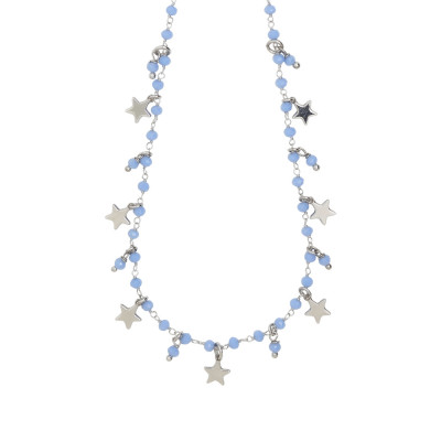 Rosary necklace with blue crystals and star theme charms