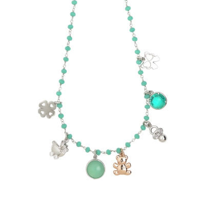 Rosary necklace with green water crystals and birth charms