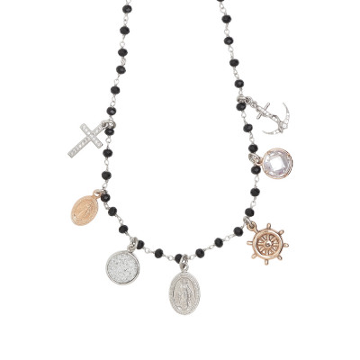 Rosary necklace with black crystals and faith theme charms