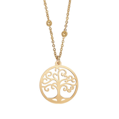 Golden necklace with tree of life pendant
