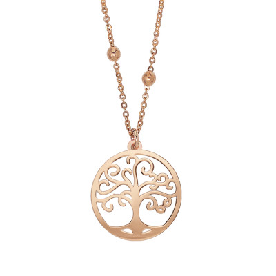 Rosé necklace with tree of life pendant