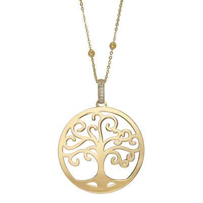 Golden necklace with tree of life pendant and cubic zirconia