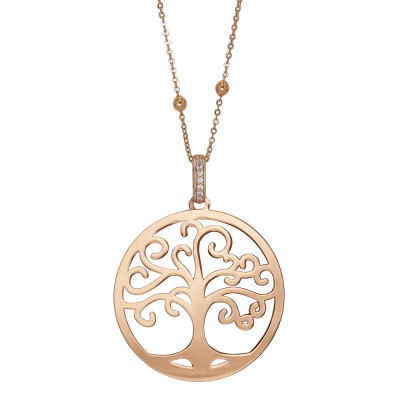 Rosé necklace with tree of life pendant and zircons