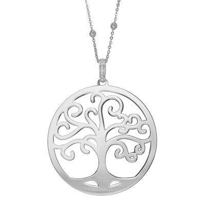 Rhodium-plated necklace with maxi pendant and tree of life