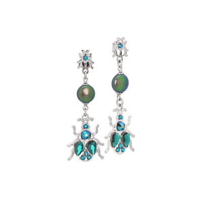 Dangle earrings with scarab and Swarovski pearls